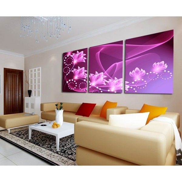 Huge Wall Decor Oil Painting Abstract Art Purple Lotus