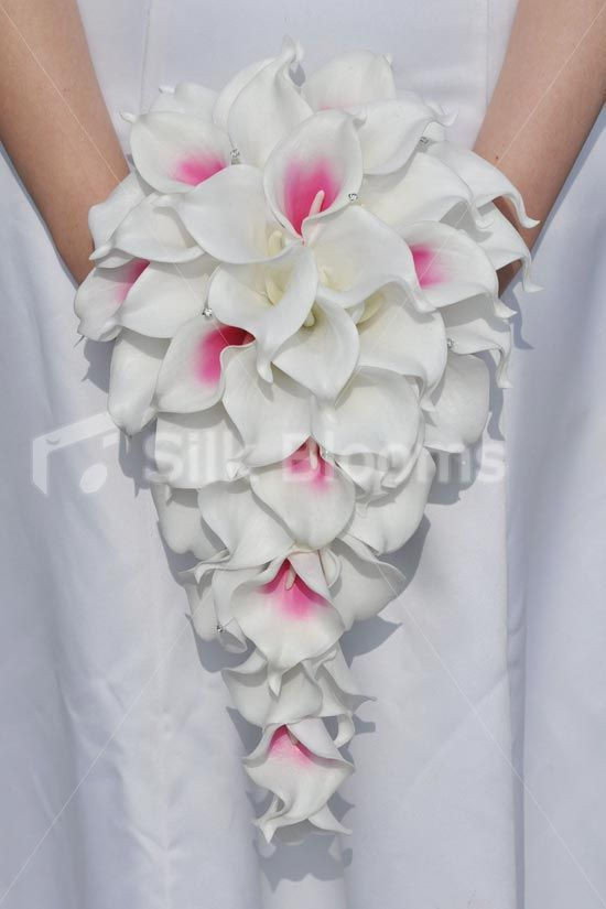 Modern White Calla Lily Cascade Bridal Bouquet w/ Hot Pink ...