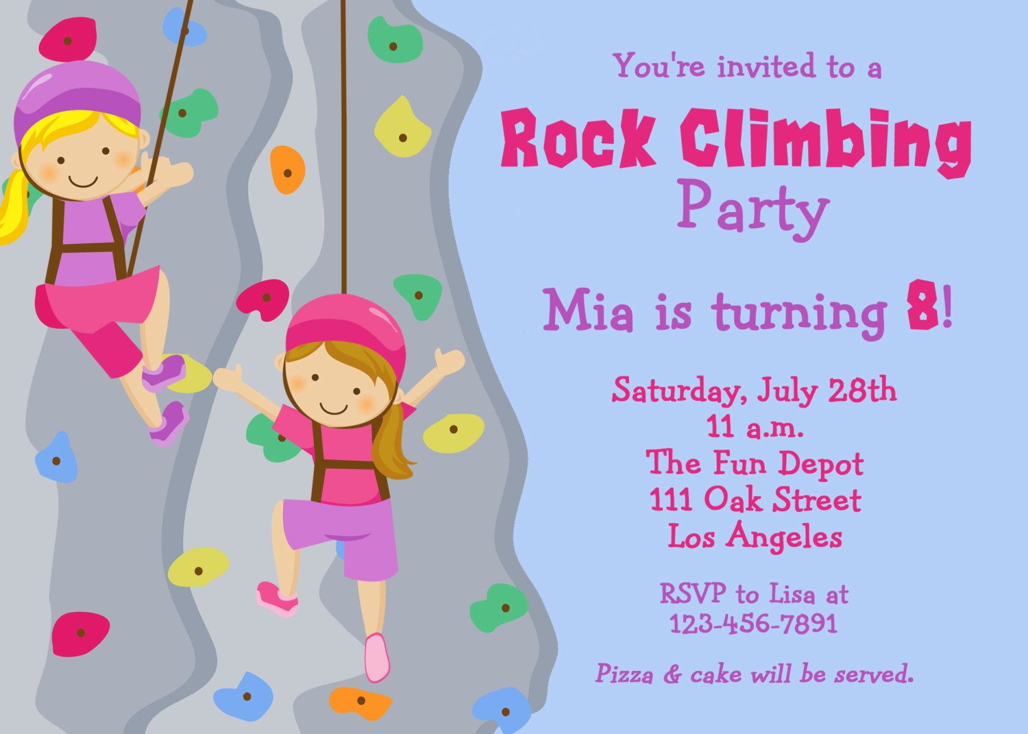 Cool Rock Climbing Birthday Party Invitations Download this ...