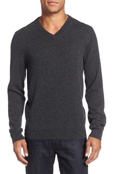 e7921f839220 Nordstrom Men s Shop Cashmere V-Neck Sweater (Regular   Tall ...