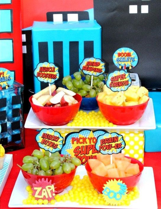 SUPER Hero Party FOOD Labels Superhero Birtthday Superheroes