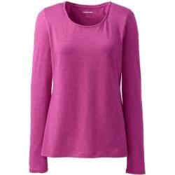 Photo of Cotton / modal blend shirt, petite size ballet neckline – Pink – 32-34 from Lands 'End Lands'