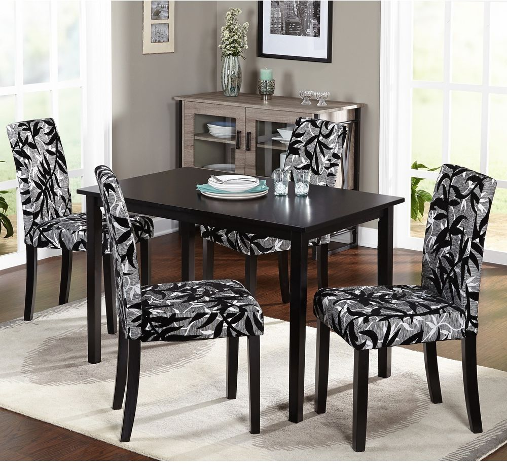 dining room black and silver 5piece dining table and