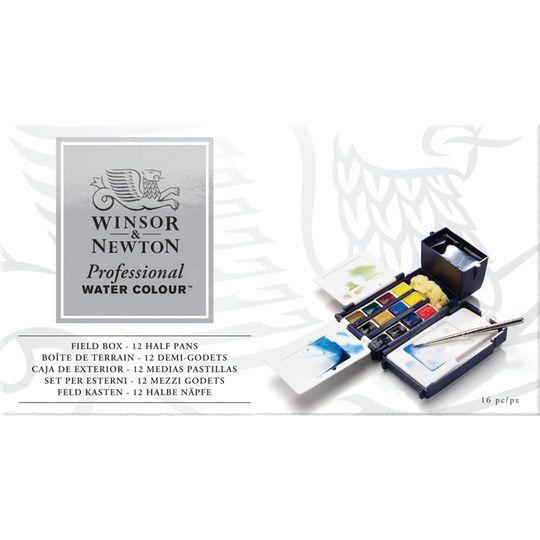 Winsor Newton Artists Watercolor Field Box Set 12 Half Pans