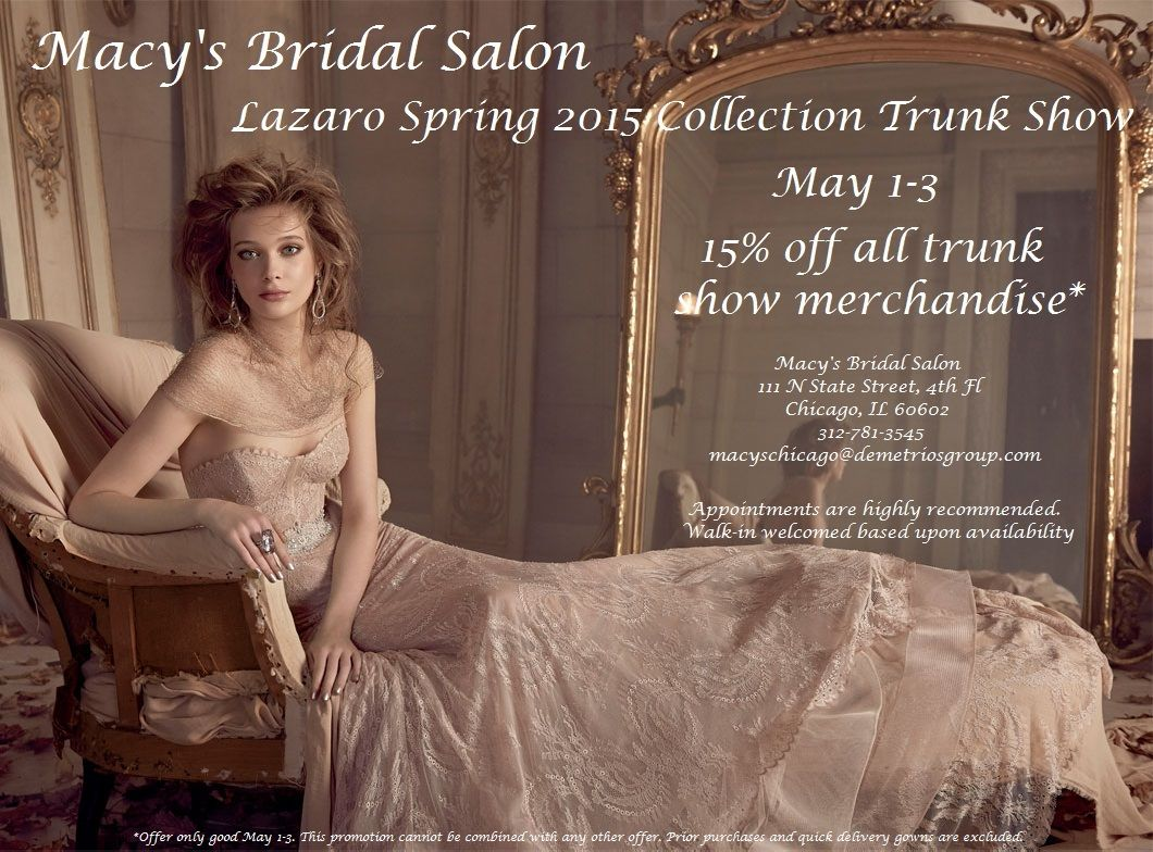 Newest Lazaro bridal gowns at Macy\'s Bridal Salon on State Street ...