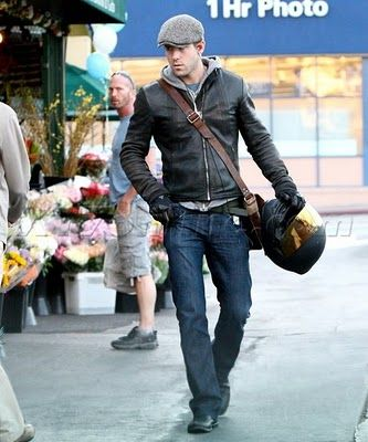 Ryan Reynolds Hoody Leather Jacket Combo Motorbike Menswear Lookbook Cafe Racer