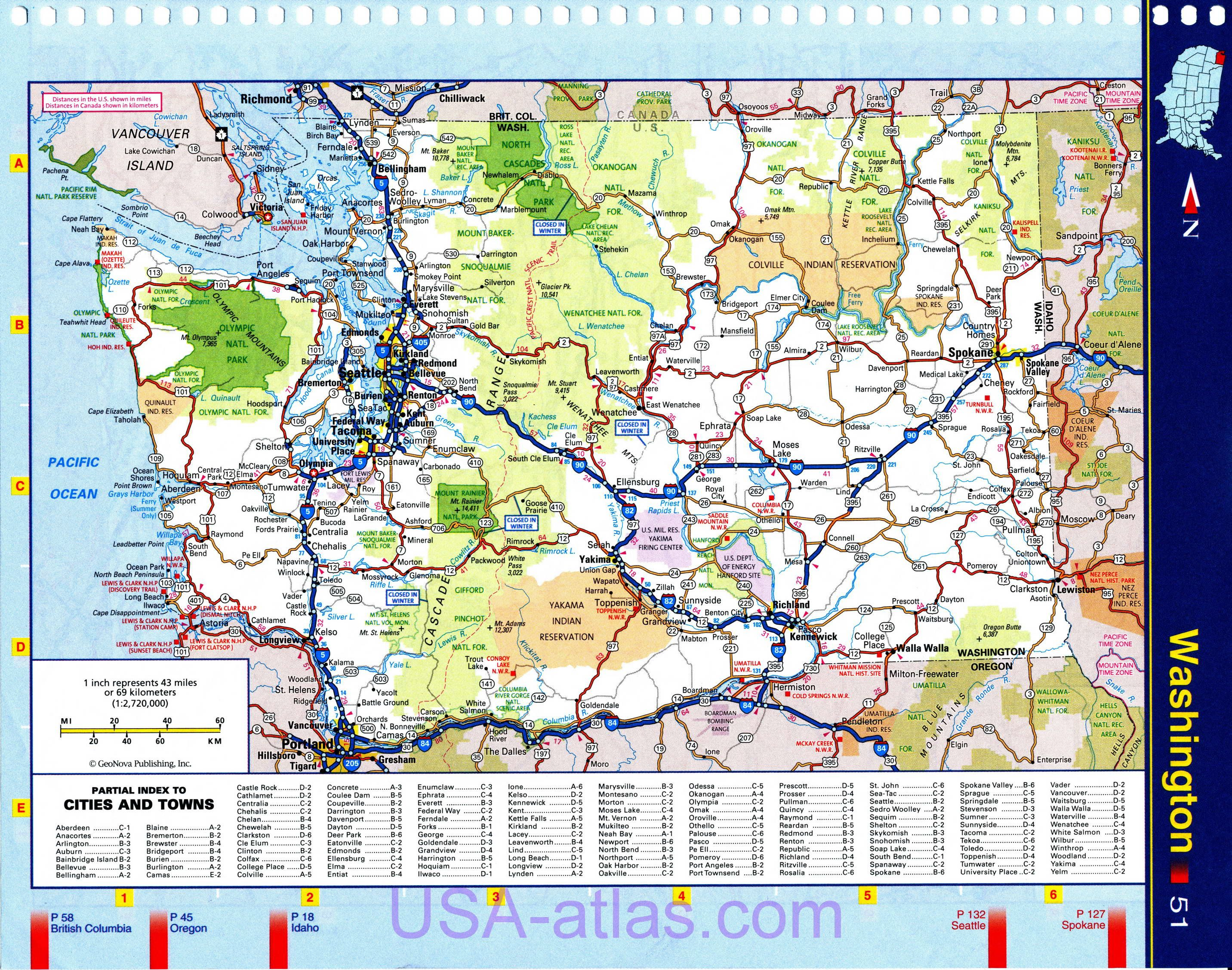 Road Map Of State Washington WA Detailed Road Map Of The State - Road atlas map of usa