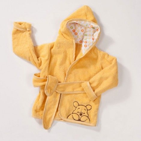 Wrap your little hunny in this fun #WinniethePooh robe complete with hood and belt.