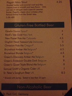 Gluten Free Beer Menu At Posana Cafe In Asheville Nc  Gluten