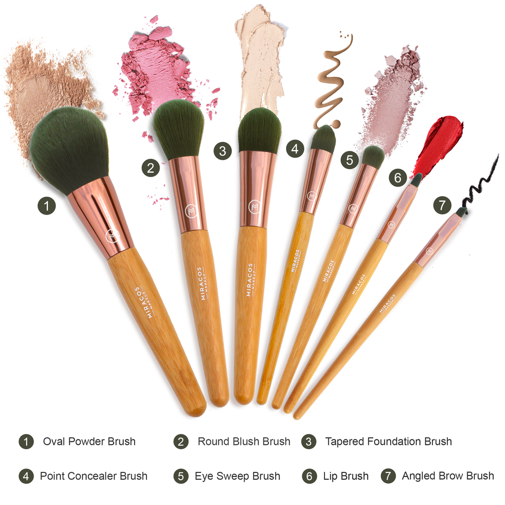 What are the most common types of makeup brushes and how