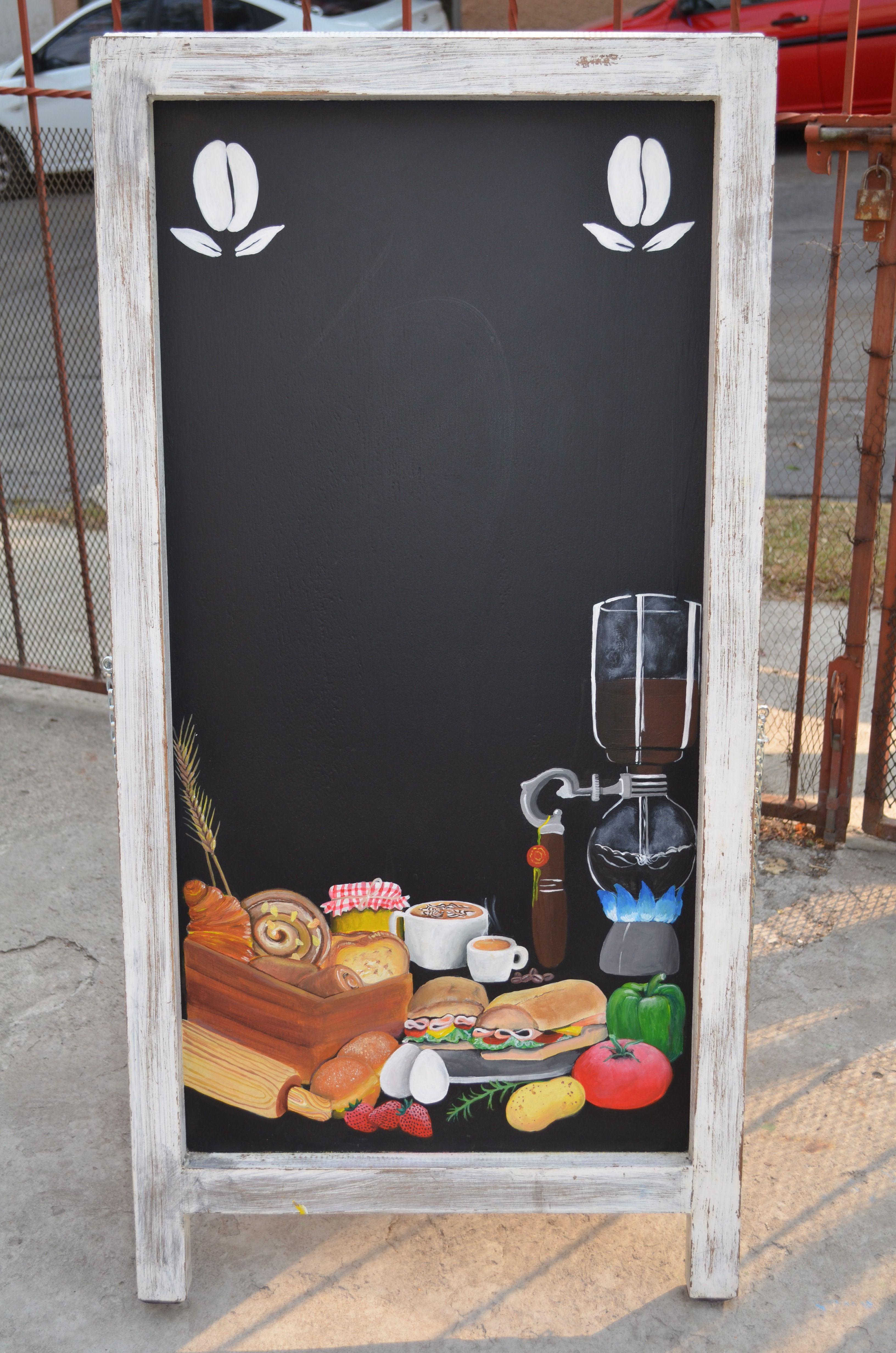 Pizarron De Piso Para Cafeterias Restaurantes Con