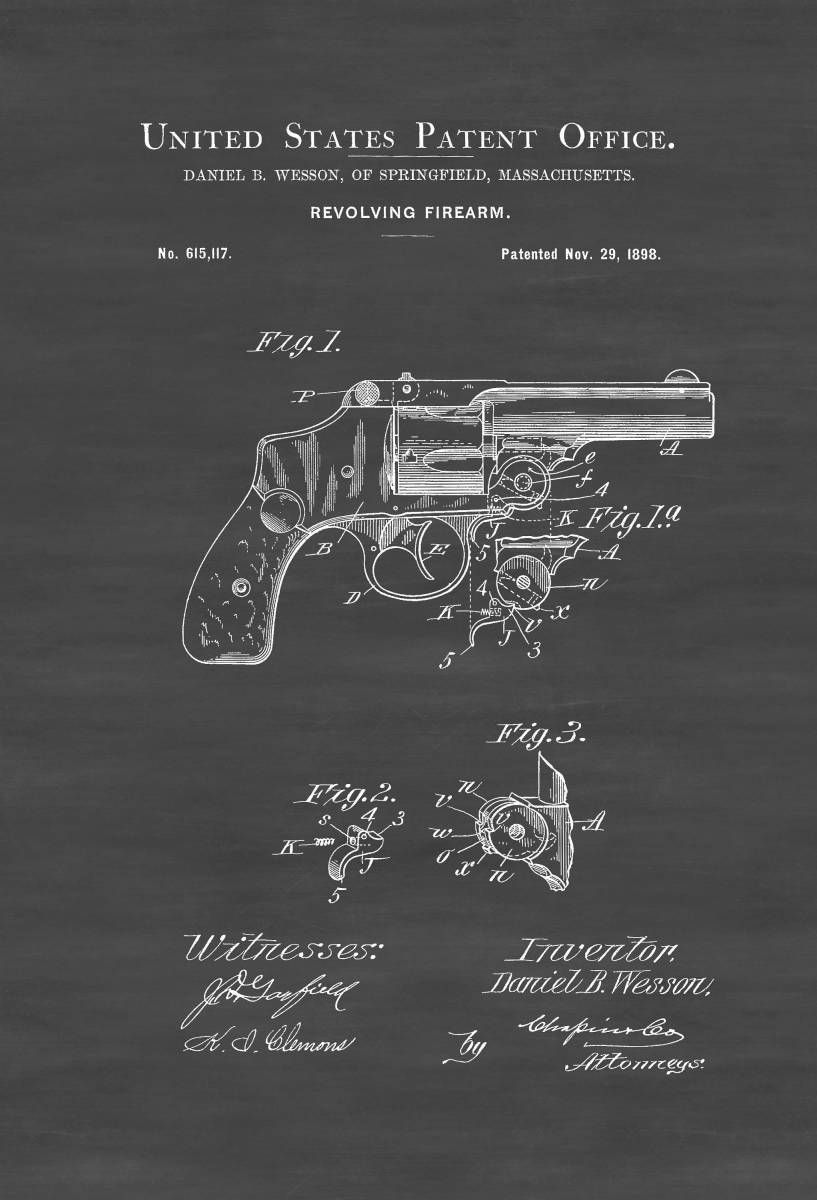 1898 Smith and Wesson Revolver Patent – Patent Print, Gun Art ...