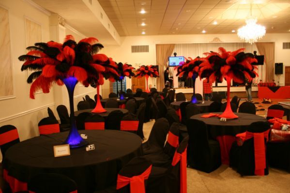 The Feather Diva Red And Black Casino Night Party Casino Party