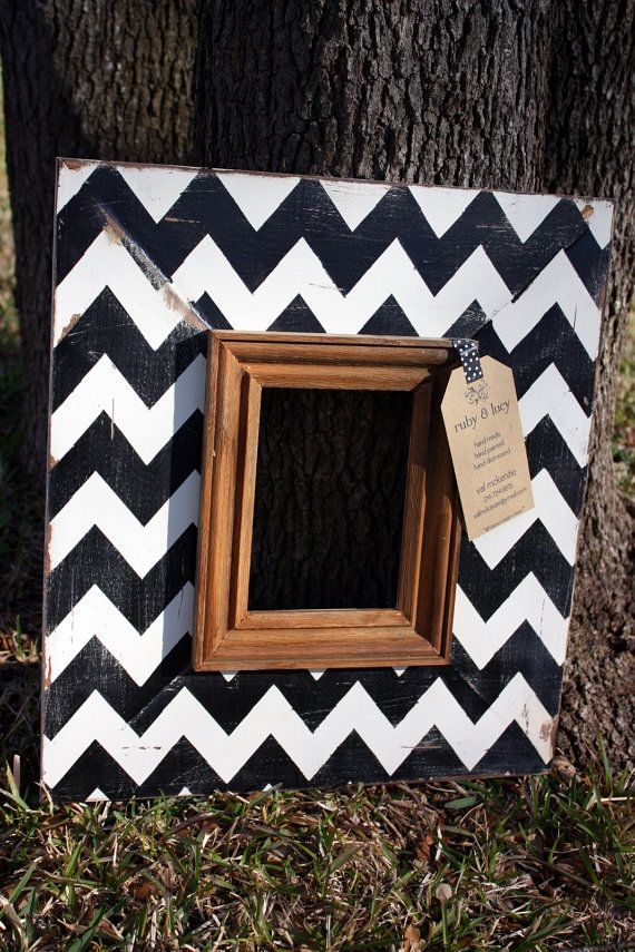 Chevron frame black & white distressed 5x7 picture | graduation gift ...