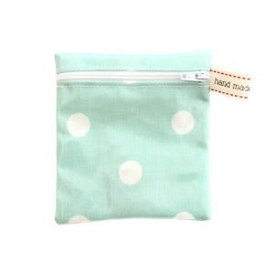 Bixby's Small Oilcloth Bags - Green Polka Dot