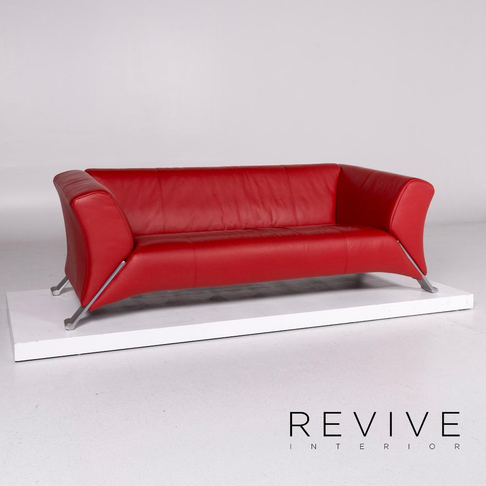 Rolf Benz 322 Leder Sofa Rot Dreisitzer Couch 10783 Revive