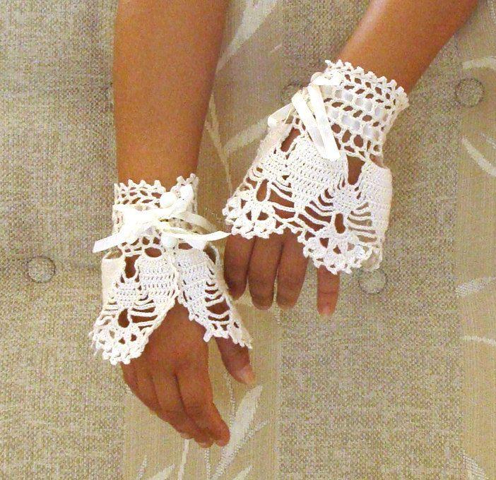 wedding lace wrist cuffs cream white color, bridal lace fingerless gloves, crochet Victorian cuffs. $36.00, via Etsy.