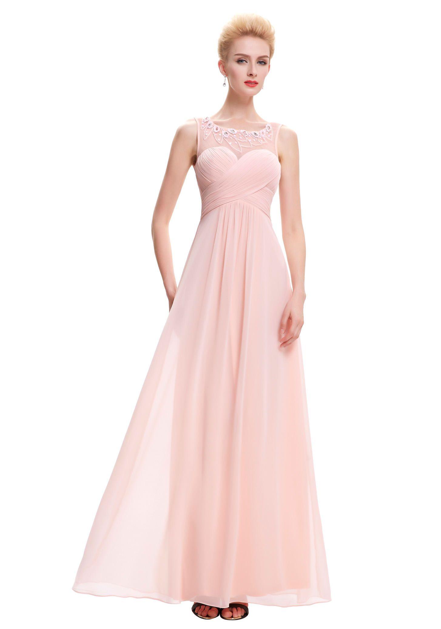 Langes Chiffon Abendkleid in Rosa | Abendkleid, Elegante ...