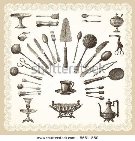 """Silverware - vintage engraved illustration - """"La mode illustrée"""" by Firmin-Didot et Cie in 1882 France by lynea, via Shutterstock"""