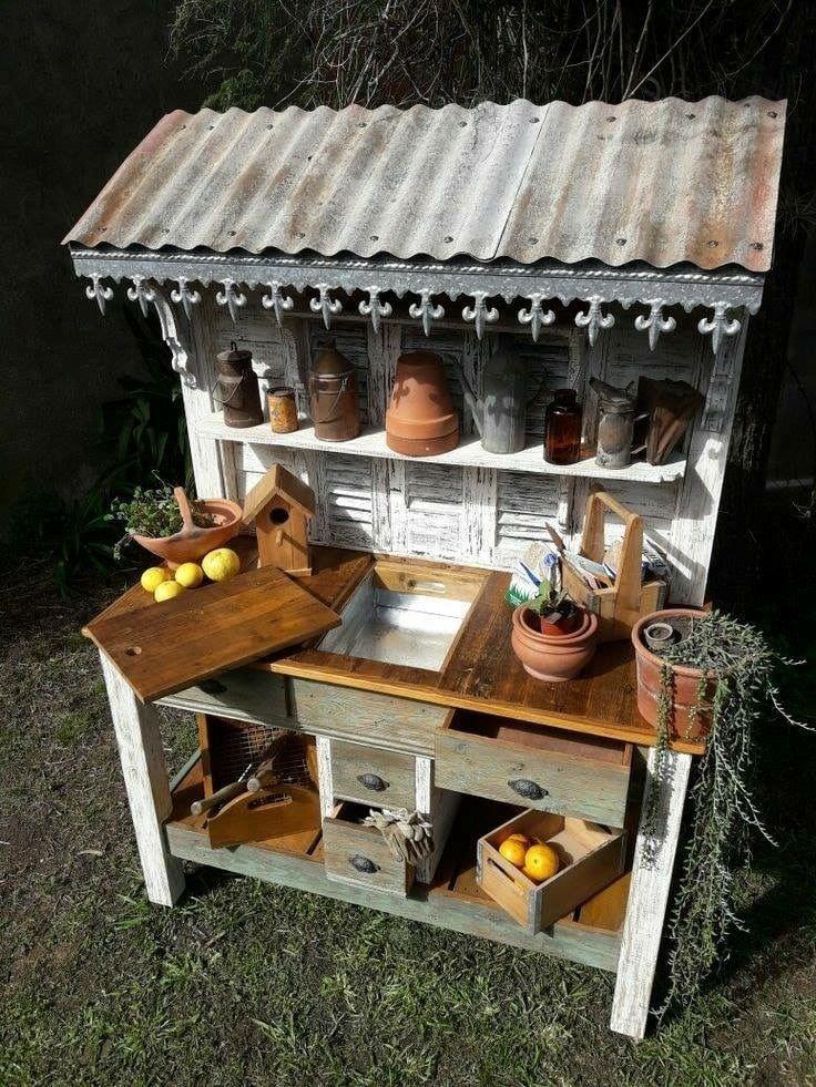 Shabby chic romantic vintage diy potting bench