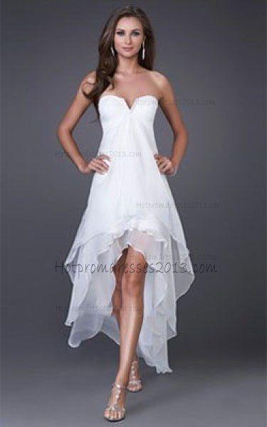 Fashion White High-Low Prom Dresses V Neckline [White High Low Dresses] - $159.00 : Discount Dresses for Prom 2013,Up 50% Off @ hotpromdresses2013.com