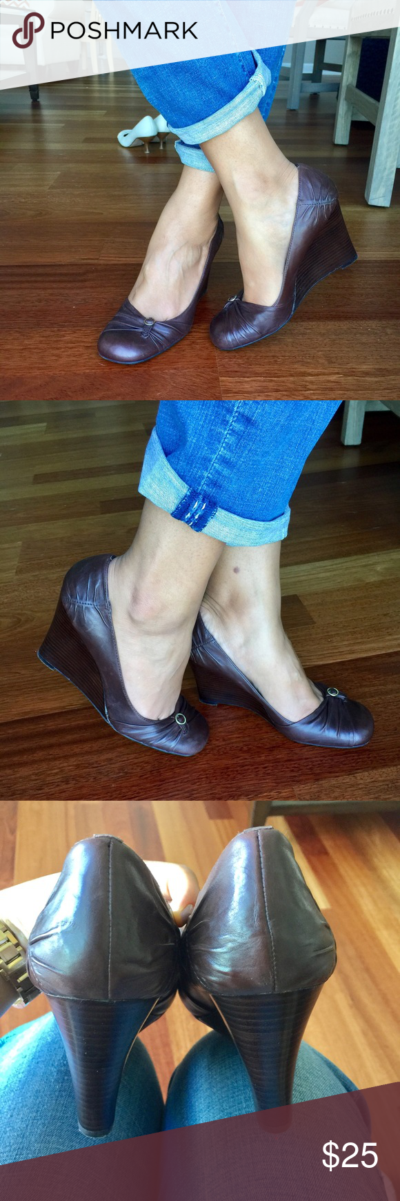 Aldo wedge shoes Aldo wedge shoes- worn once- brown color, leather upper, 3.75' wedge wooden heels,size 39 fit like an 8.5. Aldo Shoes Wedges