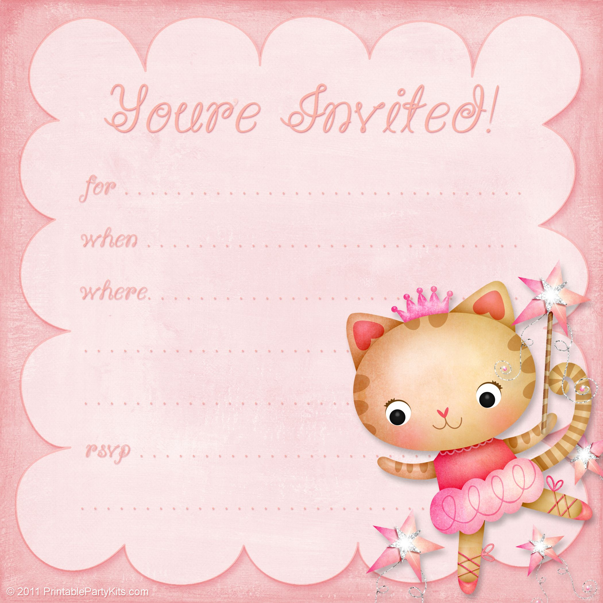 FREE Printable Princess Kitty Ballerina Girls Birthday Party