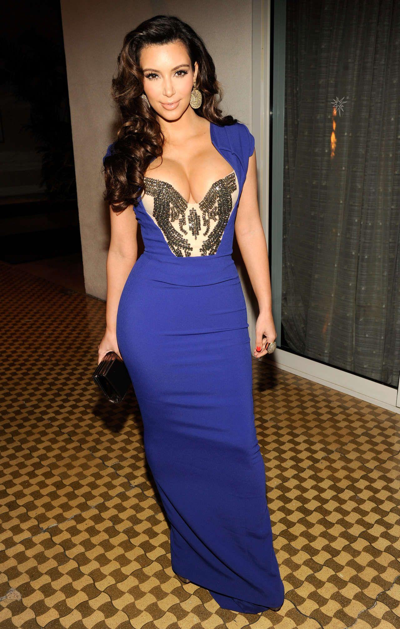 Blue dresses kim kardashian blue dress cleavage gotceleb
