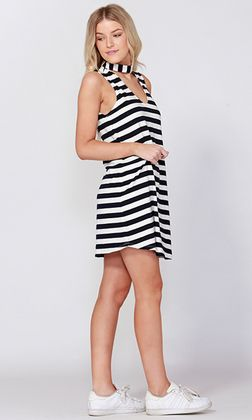e0d87673341 Dobby Stripe Keyhole Dress by SASS sleeveless V Neck dress with keyhole  detail. This women s dress has a back button closure and reaches mid thigh  with a ...