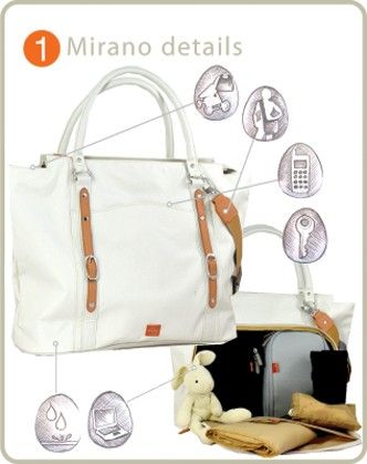 The Mary Poppins of Nappy Bags... The PacaPod Mirano bag has taken its inspiration from Riviera chic and has a stylish mix of natural fabrics and soft leather,