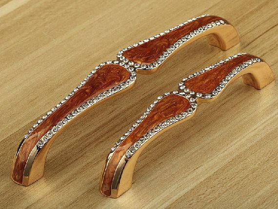 rhinestone dresser pulls drawer pull handles cabinet door knobs handle amber gold modern kitchen