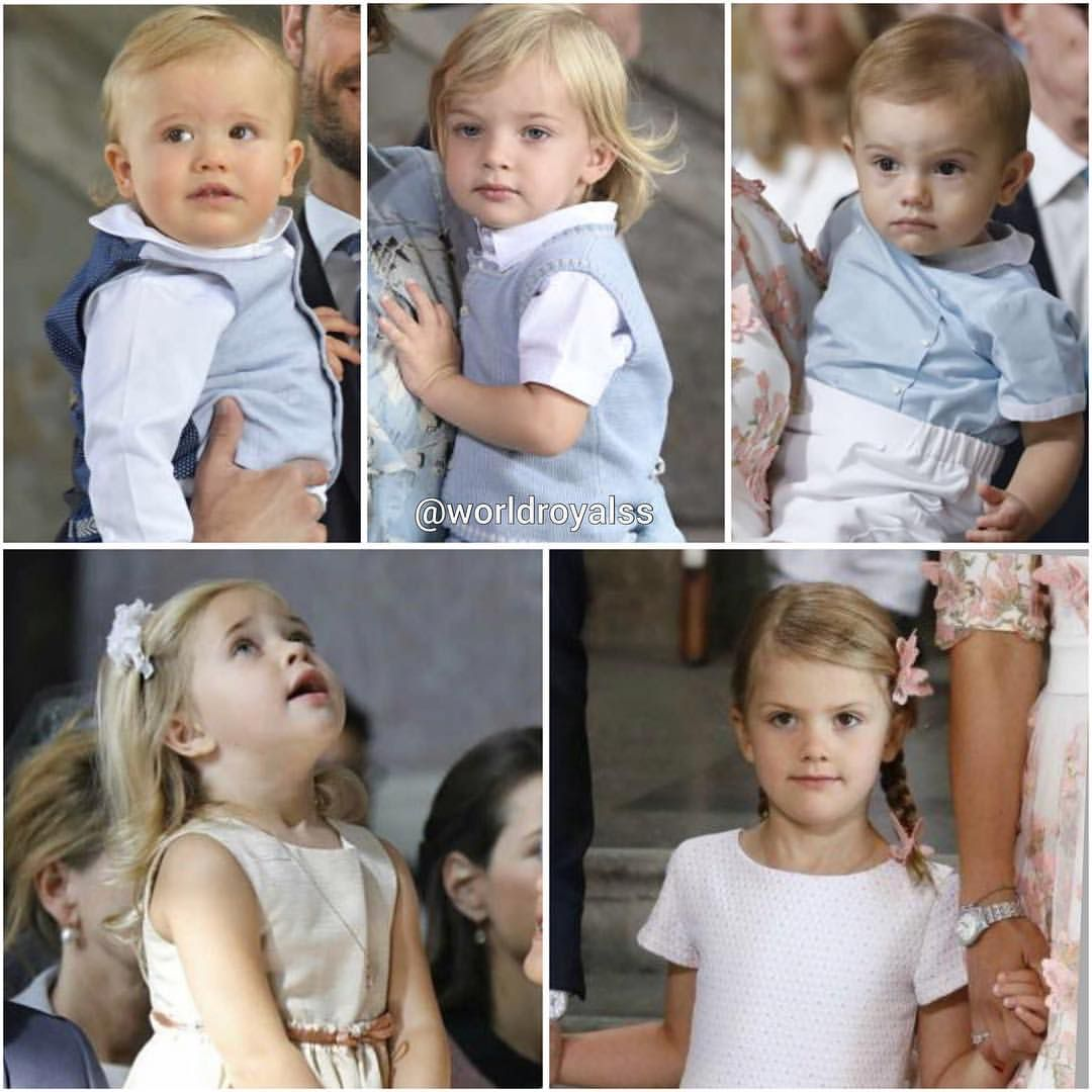King Carl XVI Gustaf's 5 grandchildren earlier today at Te Deum Up (L-R) Prince Alexander, Duke of Sodermanland Prince Nicolas, Duke of Angermanland Prince Oscar, Duke of Skane Down(L-R) Princess Leonore, Duchess of Gotland Princess Estelle, Duchess of Ostergotland via ✨ @padgram ✨(http://dl.padgram.com)