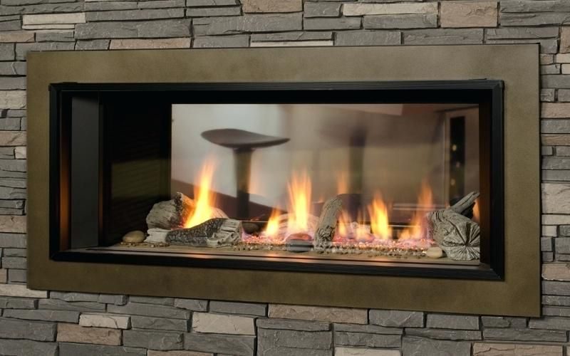 Architecture Two Sided Fireplace Insert Stone Double With Regard