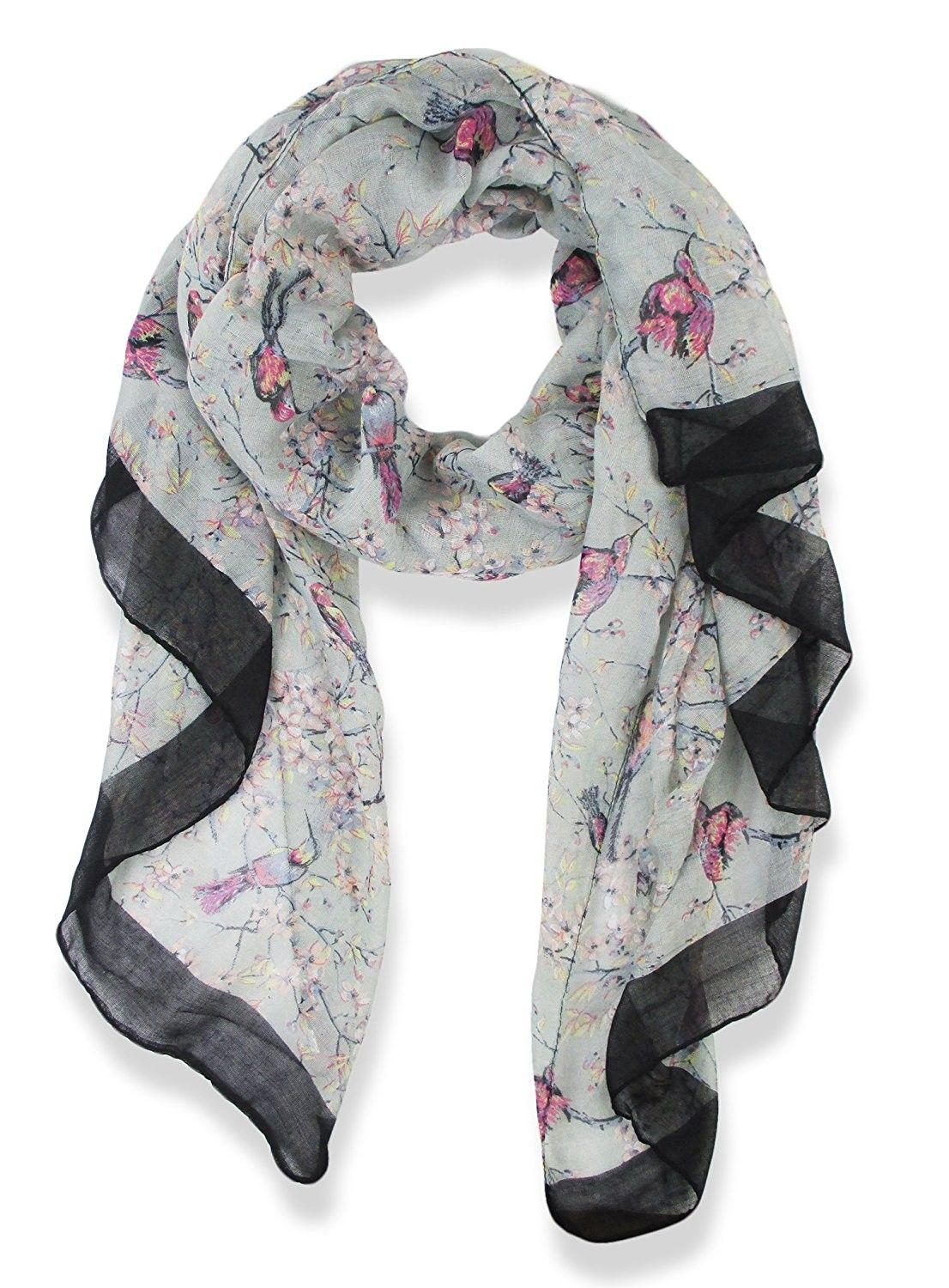 Fashion Grey Floral Abstract Chiffon Women Long Scarf Wrap Shawl Large Scarves