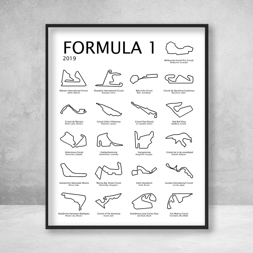Formula 1 Race Track F1 Circuit 2021 Print Portrait White Formula 1 Racing Calendar Race Track