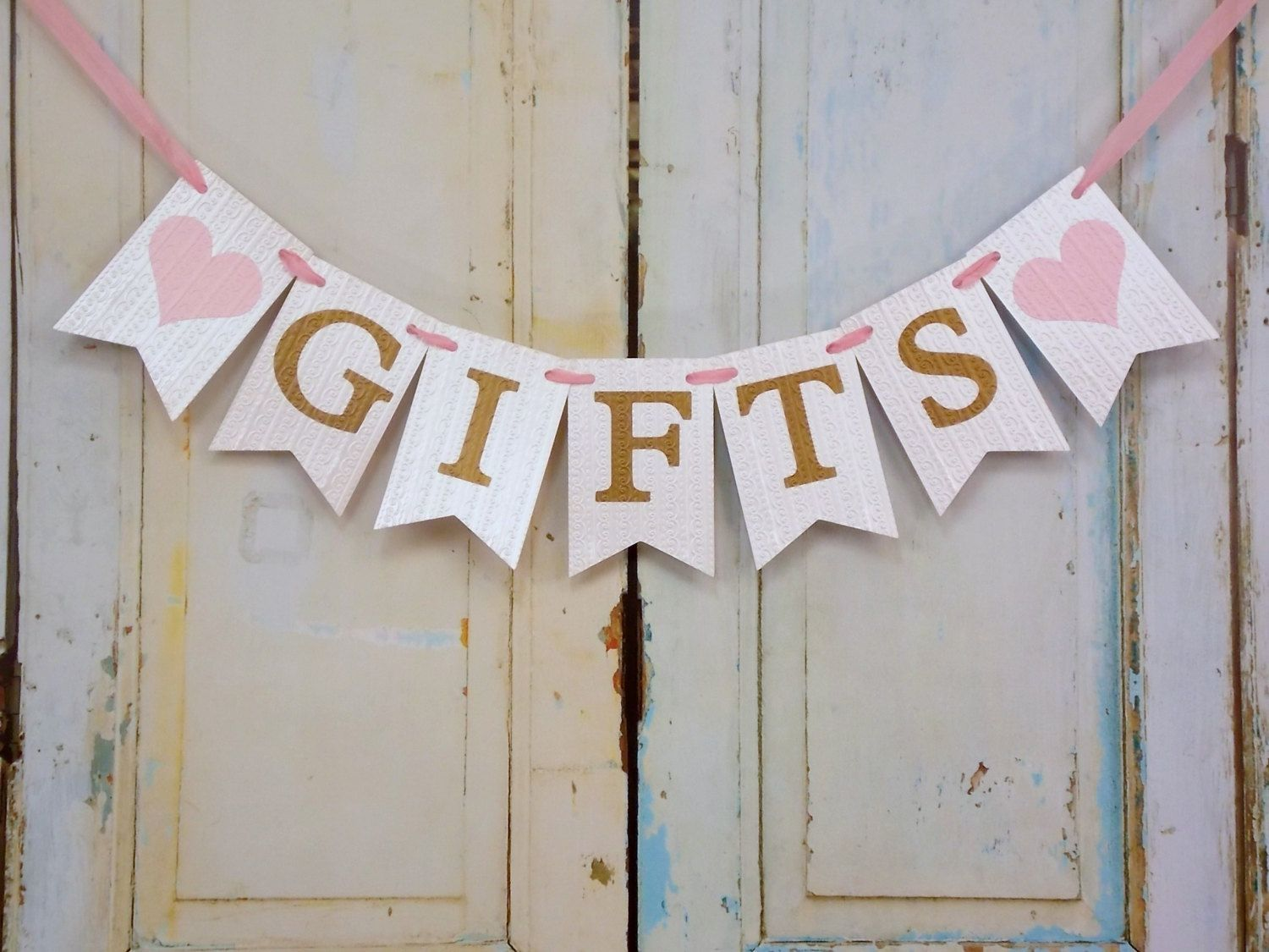 gifts to give for bridal shower games%0A Gifts Banner with Hearts  Cream Pink and Gold Banner  Wedding Shower  Banner  Baby