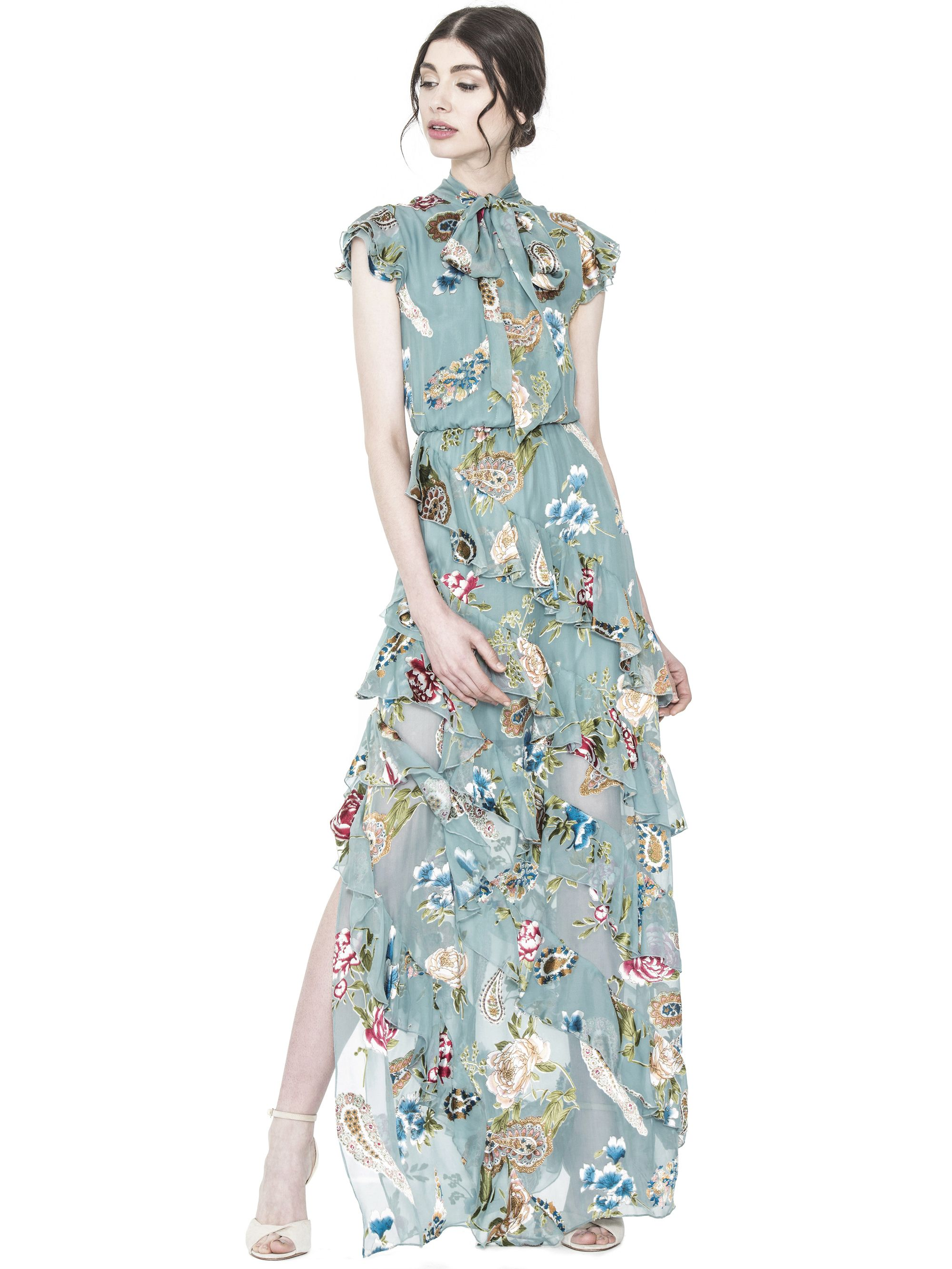 LESSIE TIE NECK SS RUFFLE DRESS by Alice + Olivia | Gorgeous Dresses ...