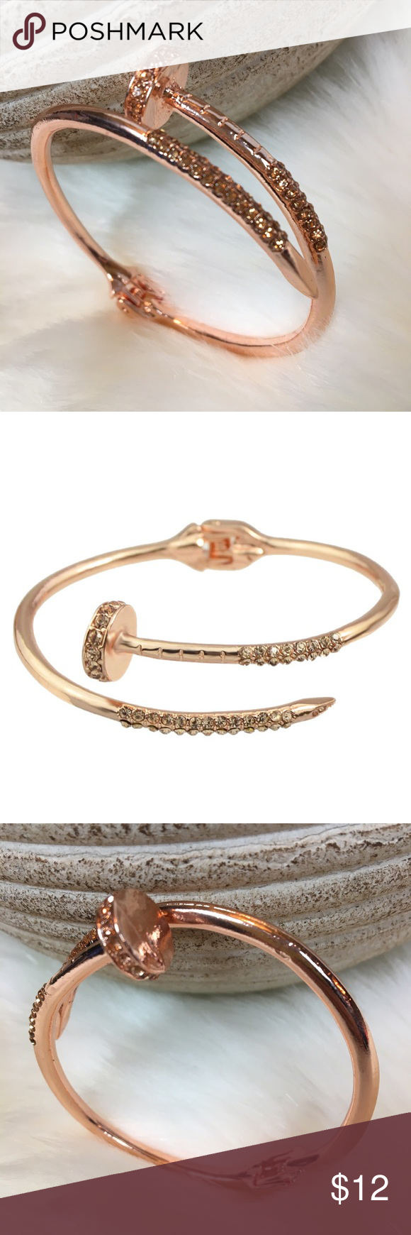 product gold knot head c bracelet nail bangle plated