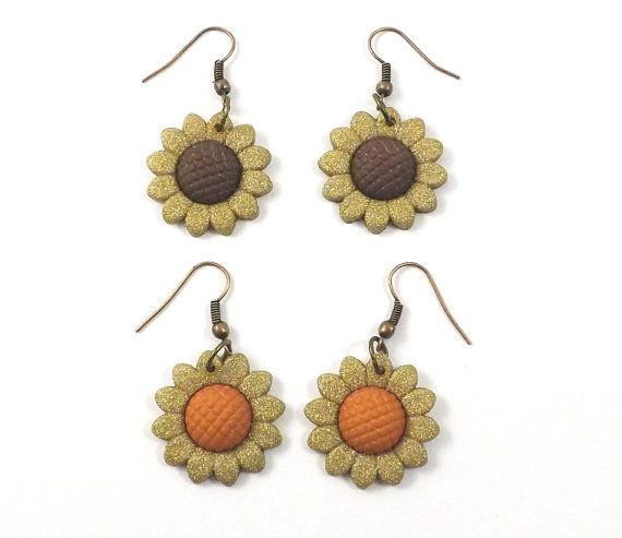 Tiny Sunflower Earrings  Sunflower Dangle by MoreCoolStuff2, $4.50