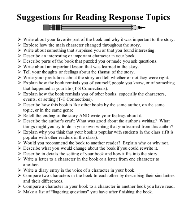 """reader response essay prompt Questions, reflections, connections, and new learning on what they hear, view,  read, write, discuss and think """"what we as educators want is that their writing  enable students to  why are response journals an effective reading strategy."""