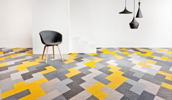 Teppichfliesen Design Boden Grau Gelb Teppichboden Verlegen Ideen