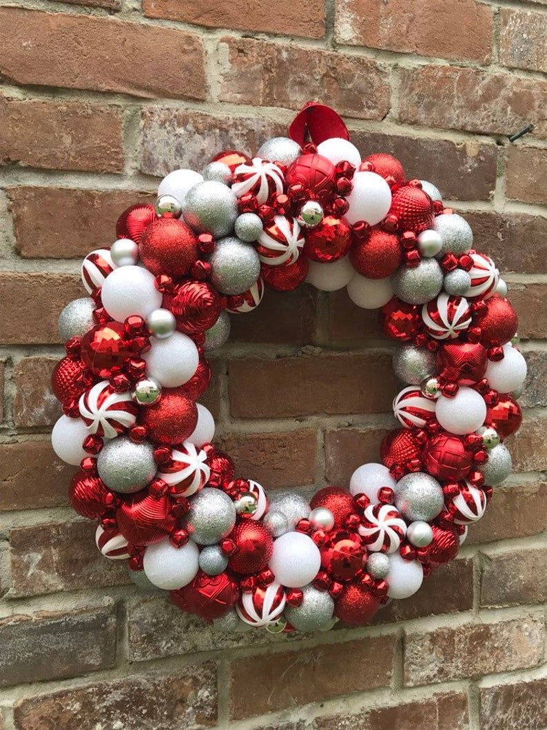 Gorgeous Red White Silver Peppermint Ornament Christmas Etsy Christmas Wreaths Christmas Ornament Wreath Silver Christmas Decorations