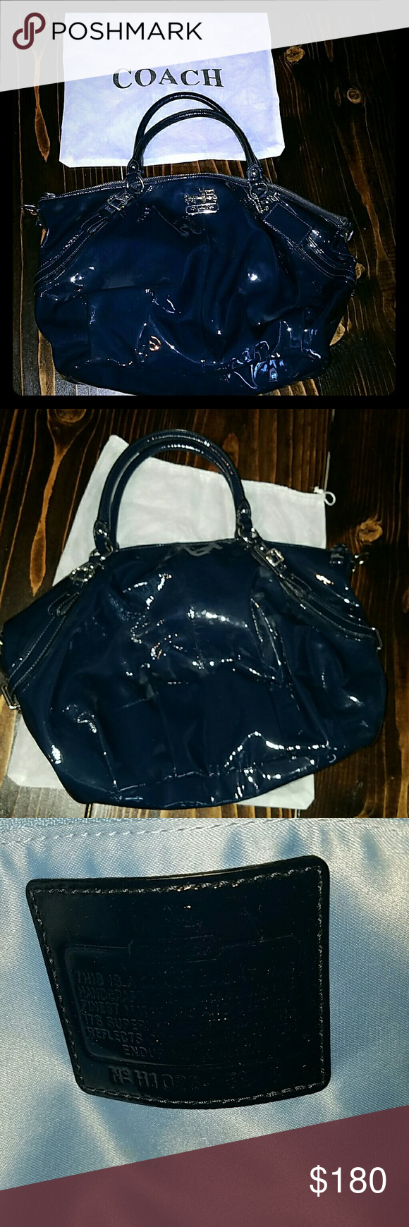 Coach Navy Patent Leather Bag