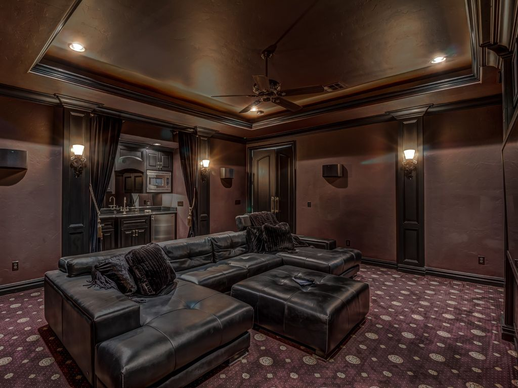 Traditional Home Theater With Wall Sconce Carpet Ceiling Fan Crown Molding