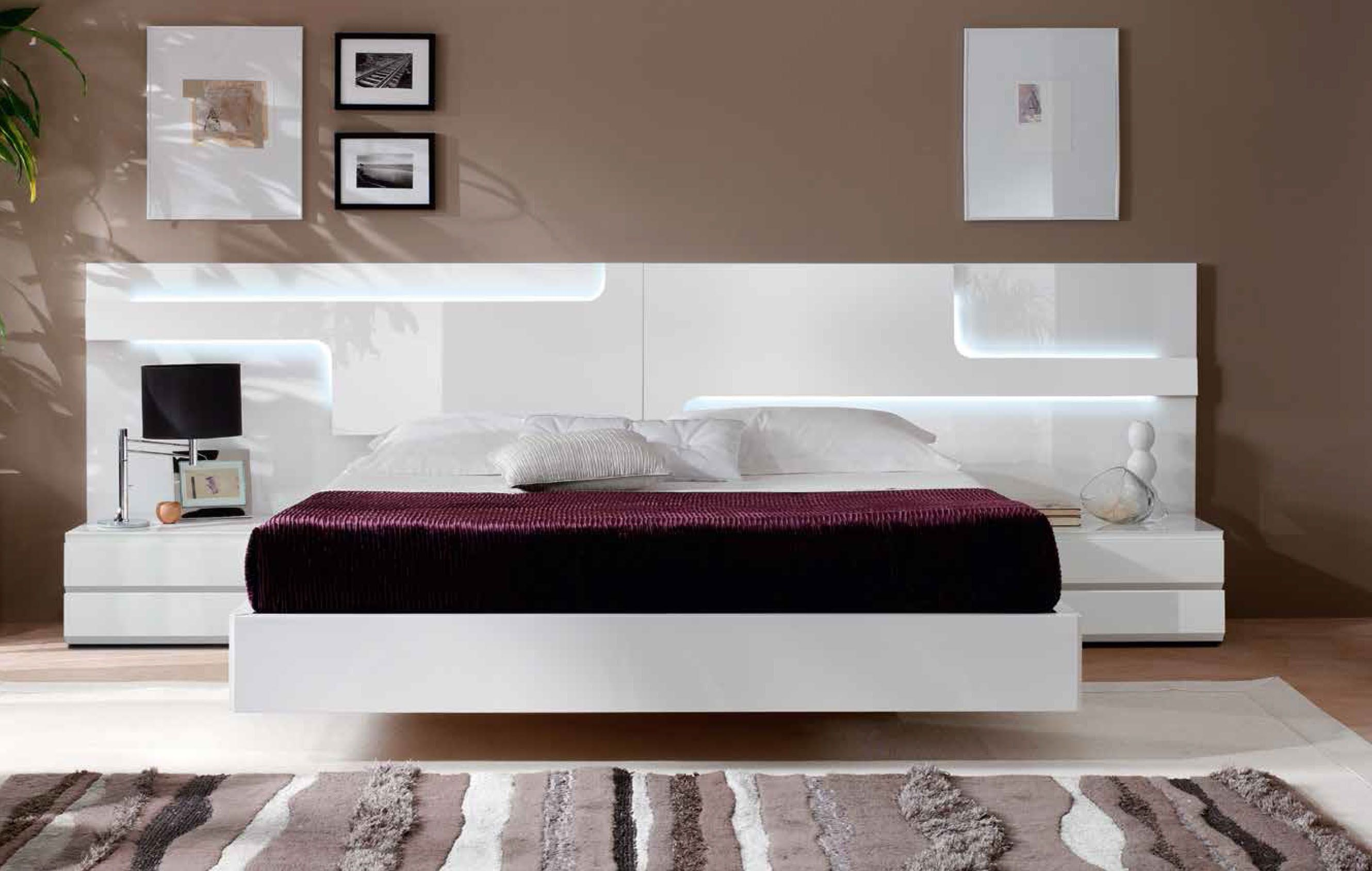 Sofaland Spain Lacquered Made In Spain Wood Platform And Headboard Bed With Extra