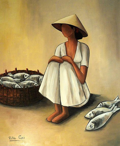 La Corbeille De Poissons Vietnam Peintures Asiatiques