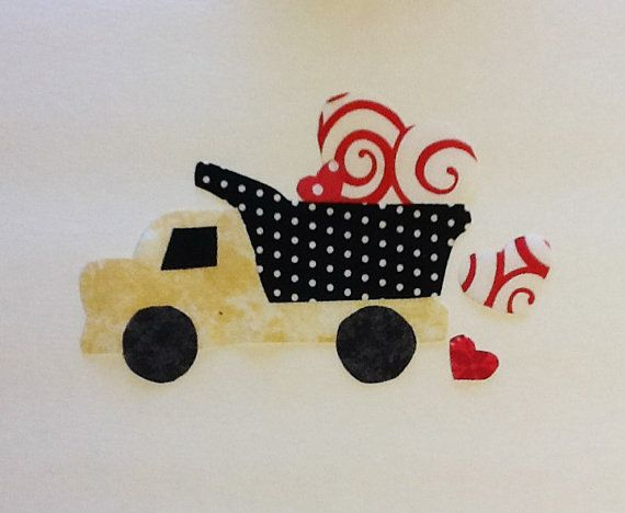 Dump truck heart fabric applique pattern by annieslittlehouse