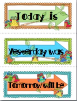 2014-2019 School Calendar OWL THEMED CALENDAR BOARD PIECES 2014 2019   TeachersPayTeachers