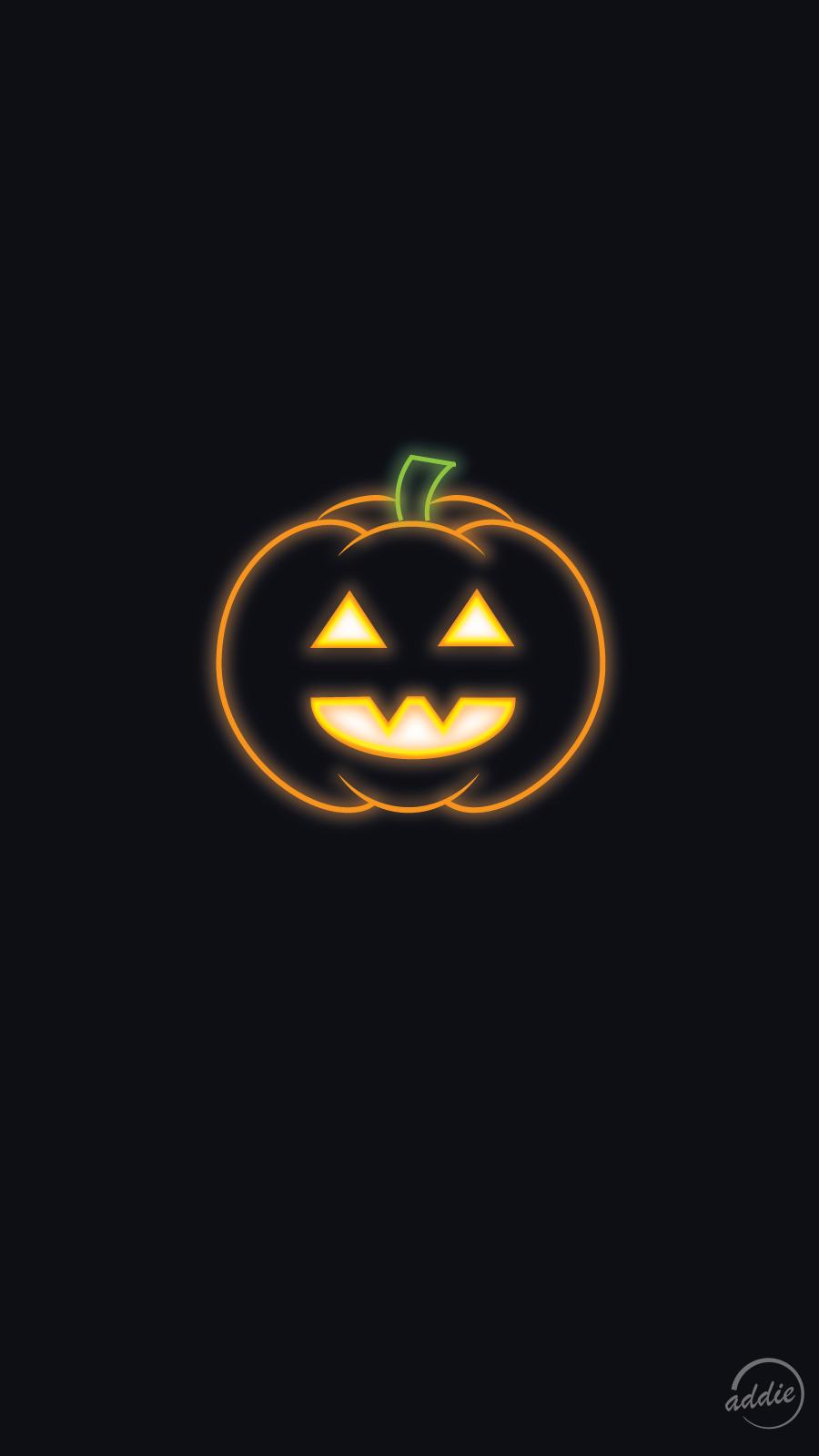 Halloween Neon Jack o' Lantern Phone Wallpaper