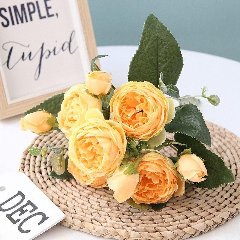 Photo of 5 Big Heads/Bouquet Peony Artificial Flowers Home Decoration Accessories Wedding Party Silk Peonies Diy Craft Roses Flowers – Yellow